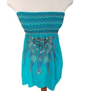 Poetry ruched turquoise embroidered summer top